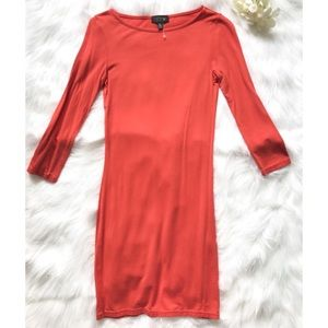TOPSHOP Coral Orange Long sleeve Dress - small